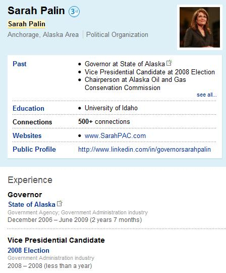 Sarah Palin's Newer LinkedIn Profile