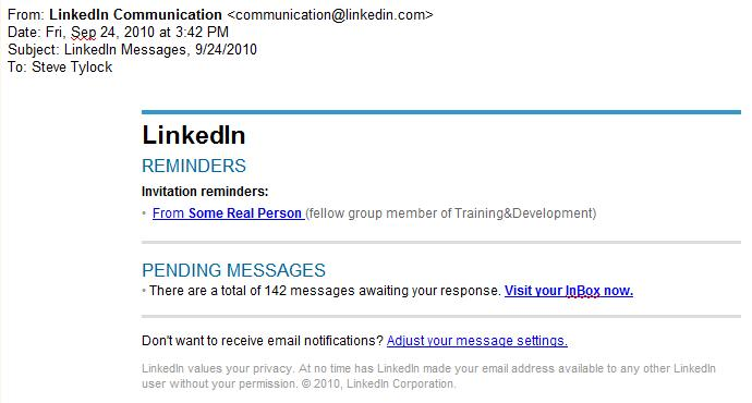 Image of a LinkedIn Notice - Real
