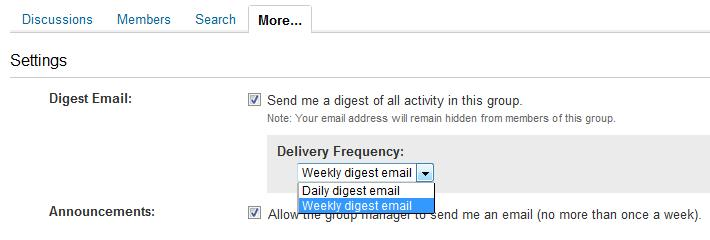 Settings screen for Group digest emails