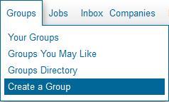 Menu to select Create a Group