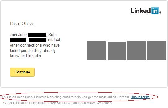 Image of marketing Email from LinkedIn