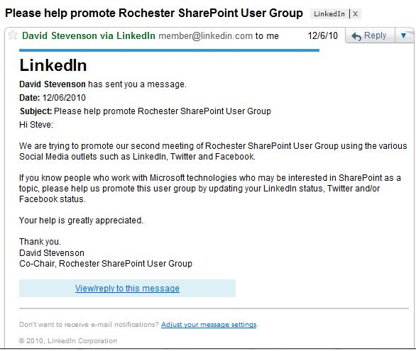 Image of Legitimate LinkedIn Email