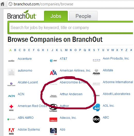 Clip of Browse Companies on Branchout screen