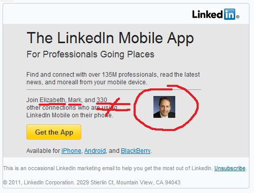 Image of LinkedIn Mobile Advertisement Email